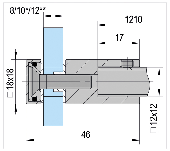 Glasanschluss in Glasbohrung Bohle square 12x12
